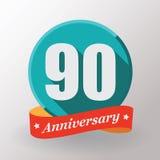 Label de 90 anniversaires avec le ruban Images stock