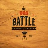 Label de bataille de BBQ illustration de vecteur
