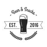 Label de bière et de casse-croûte Photos stock