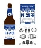 Label de bière de vecteur sur la bouteille photo stock