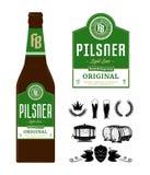 Label de bière de vecteur sur la bouteille photographie stock