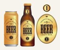 Label de bière de vecteur sur la canette de bière et la bouteille illustration stock