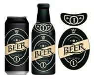 Label de bi?re de vecteur sur la canette de bi?re et la bouteille illustration stock