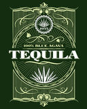 Label de bouteille de vecteur de boissons de tequila d'alcool de vintage illustration libre de droits