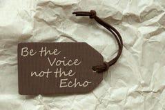 Label de Brown avec la voix Echo Paper Background de citation Photographie stock