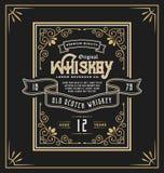 Label de cadre de vintage pour la boisson de whiskey et illustration libre de droits
