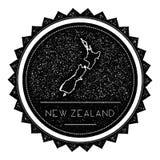 Label de carte du Nouvelle-Zélande avec le rétro vintage dénommé illustration stock