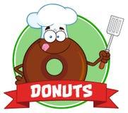 Label de cercle de Donut Cartoon Character de chef de chocolat avec le texte illustration stock