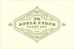 Label de cidre d'Apple avec le cadre de vintage pour le logo, emblème, autocollant d Photographie stock libre de droits