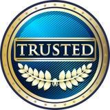 Label de confiance de produit de bleu et d'or illustration de vecteur