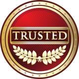 Label de confiance de produit de rouge et d'or illustration stock