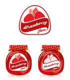 Label de confiture de fraise avec le pot Photographie stock