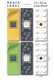 Label de fantaisie de pâtes avec des beaucoup variation de saveur et de couleurs Photos libres de droits