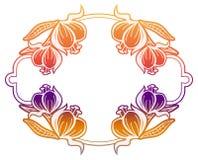 Label de gradient avec les fleurs décoratives Copiez l'espace Photographie stock libre de droits