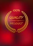 Label de haute qualité avec la guirlande d'or de laurier Images libres de droits