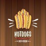 Label de hot dogs de bande dessinée de vecteur d'isolement sur le fond en bois de table Images stock