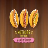Label de hot dogs de bande dessinée de vecteur d'isolement sur le fond en bois de table Affiche de hot-dog de vintage ou élément  Photo stock