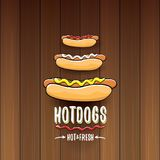 Label de hot dogs de bande dessinée de vecteur d'isolement sur le fond en bois de table Affiche de hot-dog de vintage ou élément  Photographie stock
