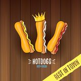Label de hot dogs de bande dessinée de vecteur d'isolement sur le fond en bois de table Affiche de hot-dog de vintage ou élément  Image libre de droits