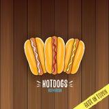 Label de hot dogs de bande dessinée de vecteur d'isolement sur le fond en bois de table Affiche de hot-dog de vintage ou élément  illustration de vecteur