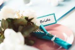 label de jeune mariée Image stock