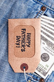 Label de jour du ` s de père près d'argent Photos libres de droits