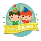Label de joyeux anniversaire avec deux enfants illustration libre de droits