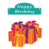 Label de joyeux anniversaire de vecteur Image stock