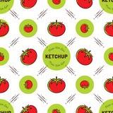 Label de ketchup de modèle de tomate Marquage à chaud sans couture de fond de la sauce tomate ou de la sauce Photos libres de droits