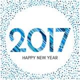 Label de la bonne année 2017 avec les confettis et les lignes bleus Photos stock