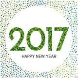 Label de la bonne année 2017 avec les confettis verts Photo stock