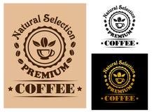 Label de la meilleure qualité de café de sélection naturelle Images libres de droits