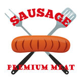 Label de la meilleure qualité de viande Porc, jambon, fourchette de barbecue, spatule Style plat illustration libre de droits