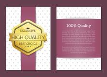 Label de la meilleure qualité de la meilleure offre d'or de récompense de 100 qualités illustration stock