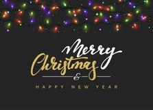 Label de lettrage de Joyeux Noël et de bonne année illustration de vecteur