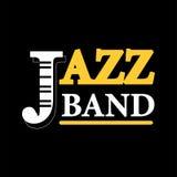 Label de logo de concert de jazz avec le texte d'isolement sur le fond noir Image libre de droits