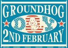 Label de match de vintage de jour de Groundhog Photo stock