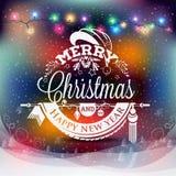 Label de Noël et de nouvelle année avec les lumières colorées sur des milieux Image stock