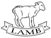 Label de nourriture d'agneau illustration de vecteur