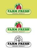 Label de nourriture fraîche de ferme avec l'illustration rouge de vecteur de grange Image libre de droits