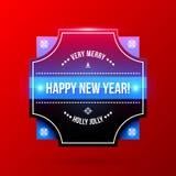 Label de nouvelle année et de Noël sur le fond rouge lumineux Photo libre de droits