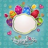 Label de Pâques avec des oeufs et des fleurs Photographie stock