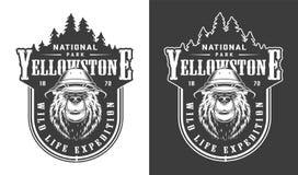 Label de parc national de Yellowstone de cru illustration de vecteur