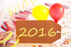 Label de partie, flamme et ballon, texte jaune 2016 Image libre de droits