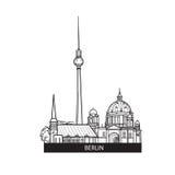 Label de points de repère de Berlin Signe de l'Allemagne de voyage Horizon allemand célèbre de bâtiments de ville Photo stock