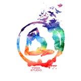 Label de pose de yoga d'aquarelle Photo stock