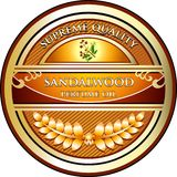 Label de produit d'huile essentielle d'Aromatherapy de bois de santal illustration de vecteur
