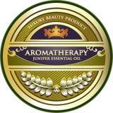 Label de produit d'huile essentielle d'Aromatherapy de genévrier illustration de vecteur