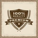 Label 100% de qualité de prime de vintage Photographie stock
