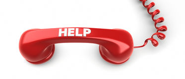 Label de récepteur téléphonique et d'aide là-dessus. Photo stock